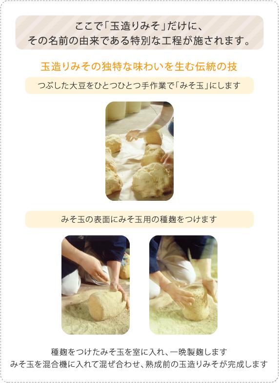 ここで「玉造りみそ」だけに、 その名前の由来である特別な工程が施されます。 玉造りみその独特な味わいを生む伝統の技 つぶした大豆をひとつひとつ手作業で「みそ玉」にします みそ玉の表面にみそ玉用の種麹をつけます 種麹をつけたみそ玉を室に入れ、1~2晩製麹します みそ玉を混合機に入れて混ぜ合わせ、熟成前の玉造りみそが完成します